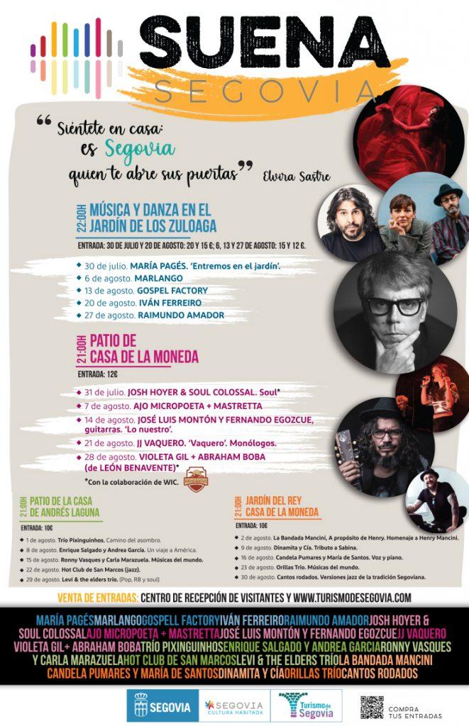 Cartel con la programación de Suena Segovia.